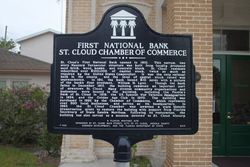 First National Bank/St. Cloud Chamber of Commerce Marker image. Click for full size.