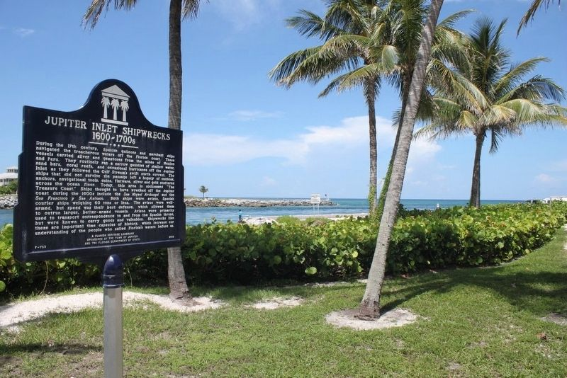 Jupiter Inlet Shipwrecks 1600-1700s Marker with inlet in background image. Click for full size.