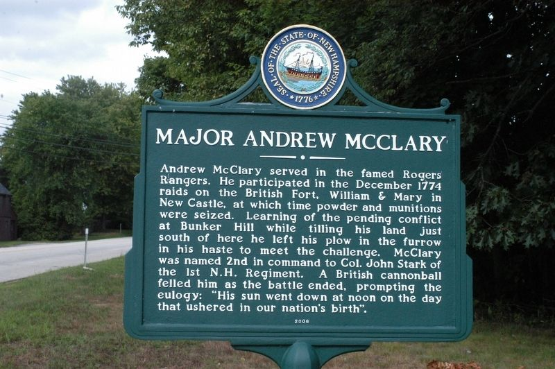 Major Andrew McClary Marker image. Click for full size.
