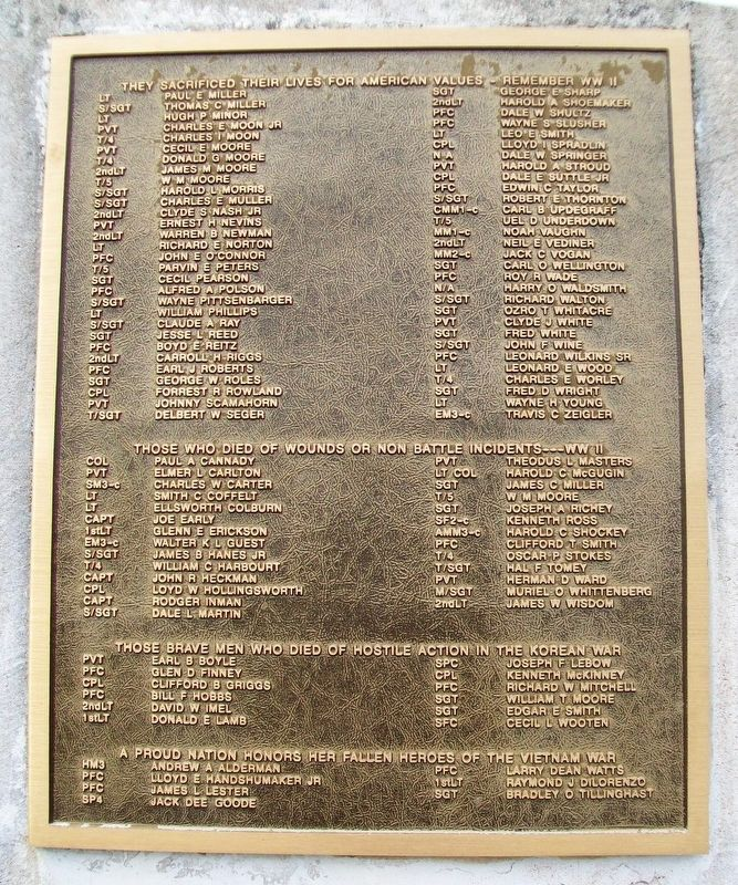 Veterans Court of Valor Roll of Honored Dead image. Click for full size.