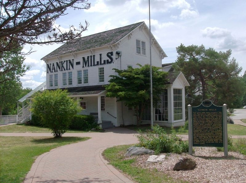 Nankin Mills Marker and Mill image. Click for full size.
