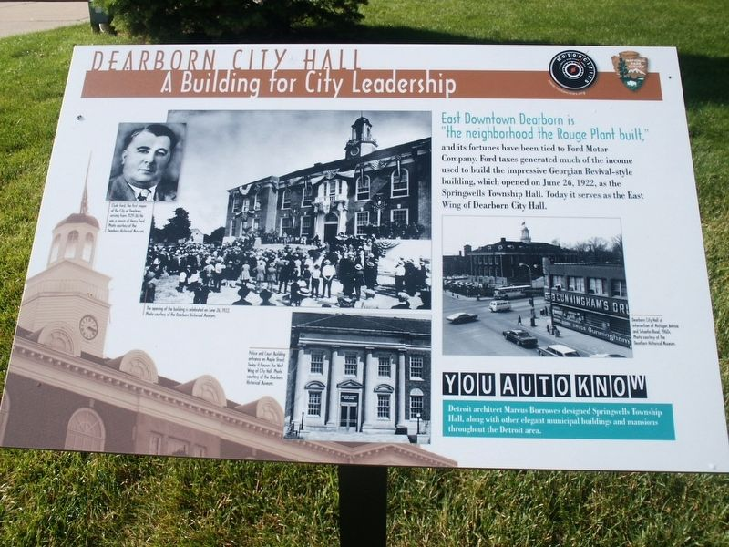 Dearborn City Hall: A Building for City Leadership Marker image. Click for full size.