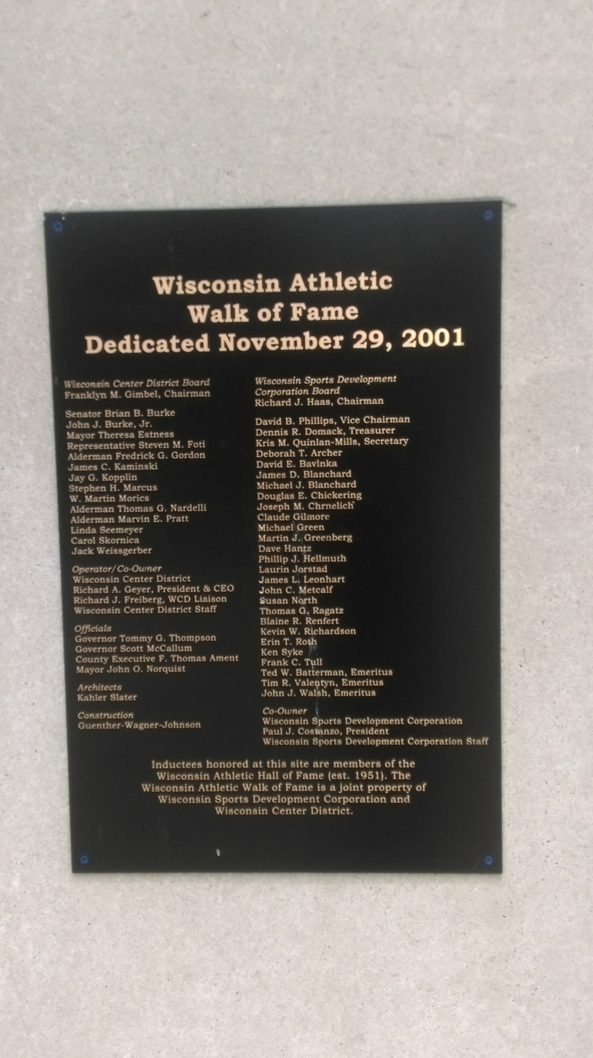 Wisconsin Athletic Walk of Fame Plaque