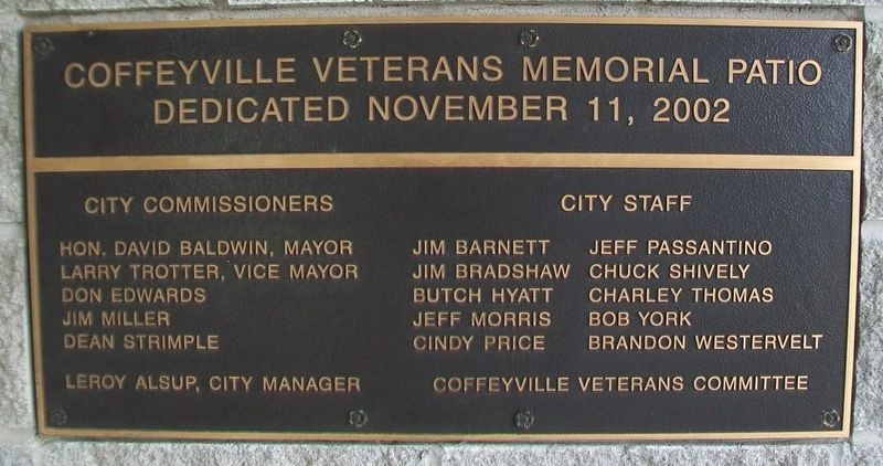 Veterans Memorial Patio Marker image. Click for full size.