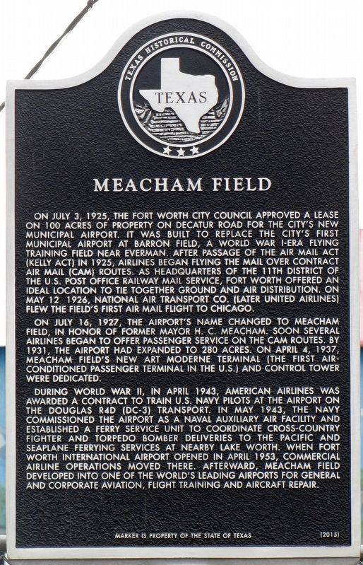 Meacham Field Texas Historical Marker image. Click for full size.