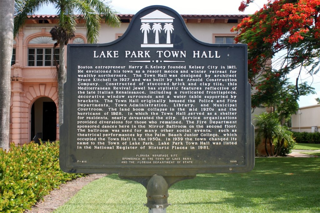Lake Park Town Hall Marker
