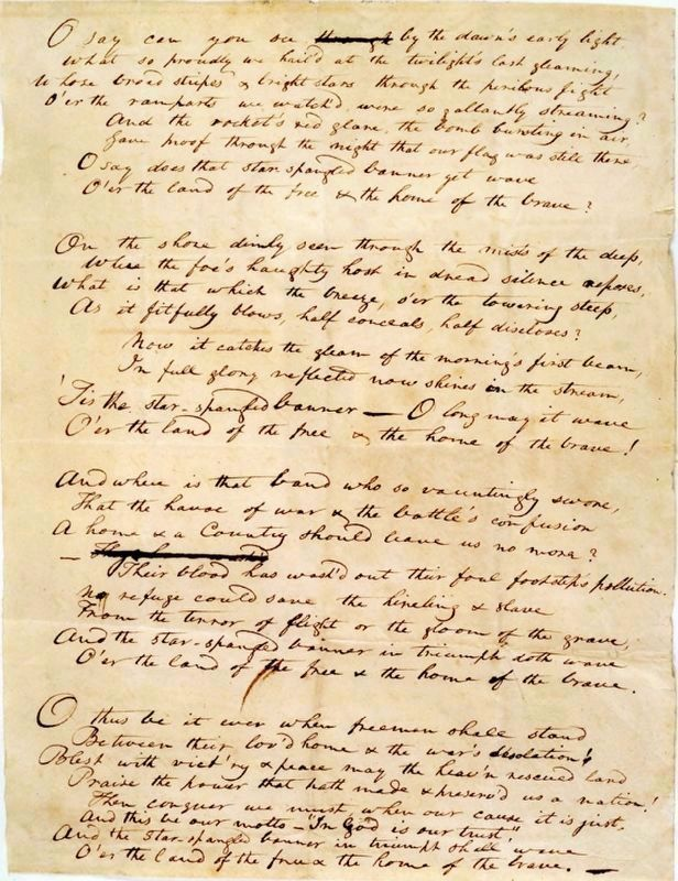 "The Original Manuscript of ""The Star-Spangled Banner"" image. Click for full size."