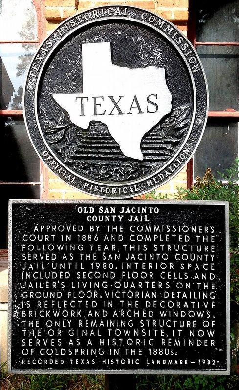 Old San Jacinto County Jail Marker image. Click for full size.