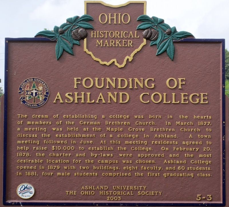 Founding of Ashland College Marker image. Click for full size.