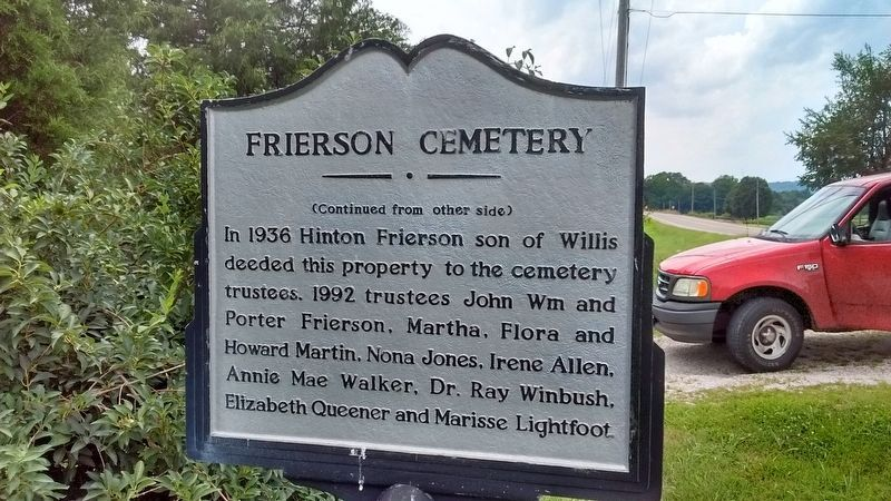 Frierson Cemetery Marker (side 2) image. Click for full size.