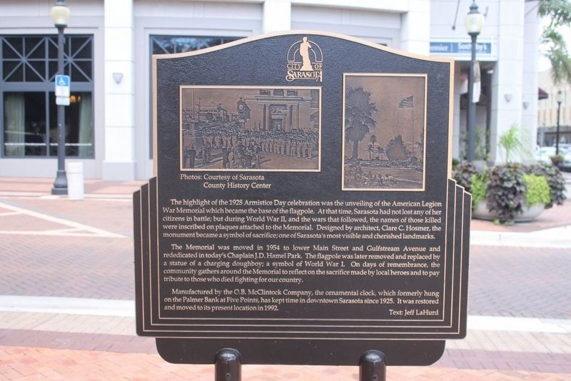 City of Sarasota Marker Reverse image. Click for full size.