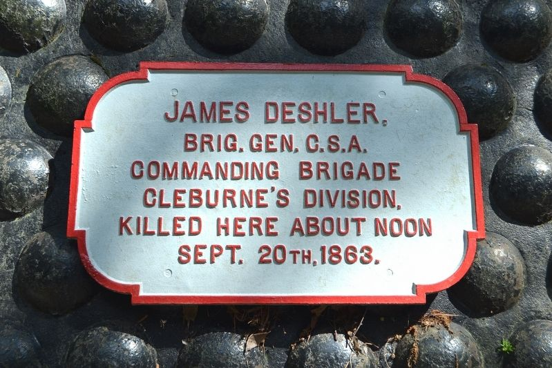Metal Tablet on James Deshler Memorial Shell Monument image. Click for full size.