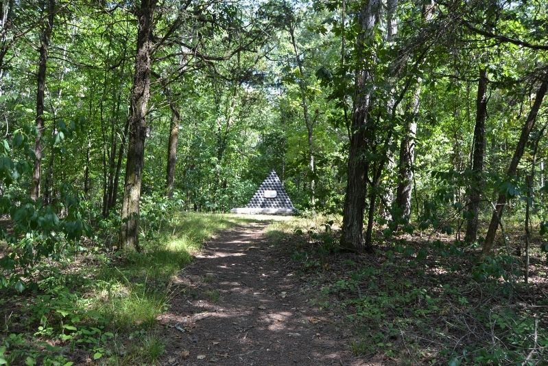 Trail Leading to James Deshler Memorial Shell Monument from Battleline Road image. Click for full size.