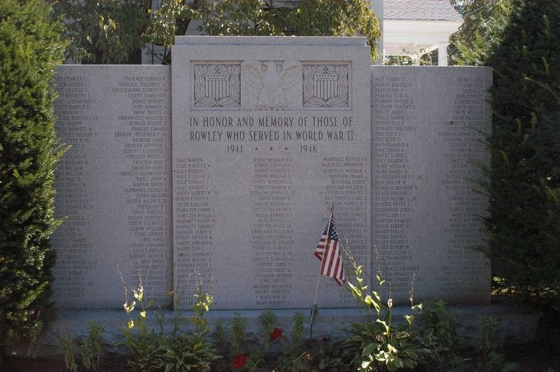 Rowley Massachusetts World War II Honor Roll Marker image. Click for full size.