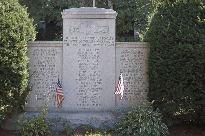 Rowley Massachusetts World War I Honor Roll Marker image. Click for full size.