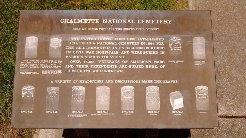 Chalmette National Cemetery - Headstone Marker image. Click for full size.