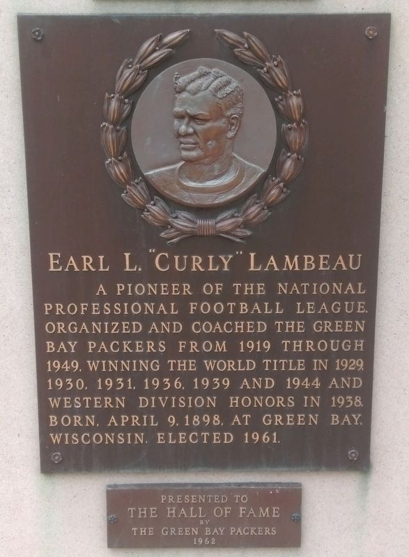 "Earl L. ""Curly"" Lambeau Marker image. Click for full size."
