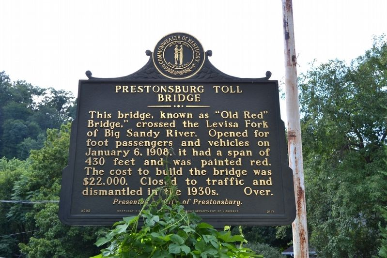 Prestonsburg Toll Bridge / Chesapeake & Ohio Railway System Marker image. Click for full size.