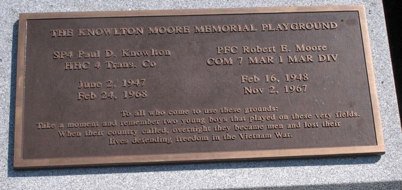 Knowlton Moore Memorial Playground Marker image. Click for full size.