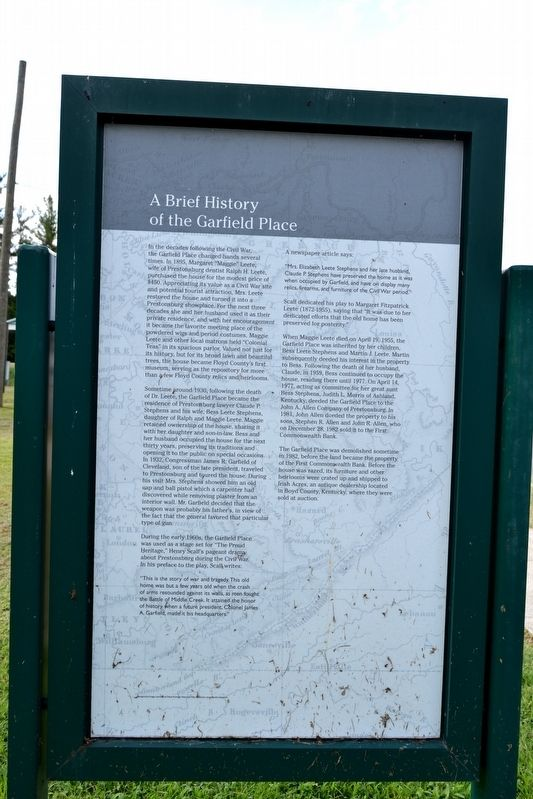 The Burns House / A Brief History of the Garfield Place Marker image. Click for full size.
