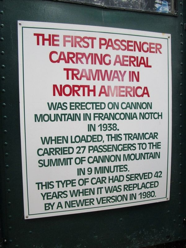 The First Passenger Carrying Aerial Tramway in North America Marker image. Click for full size.