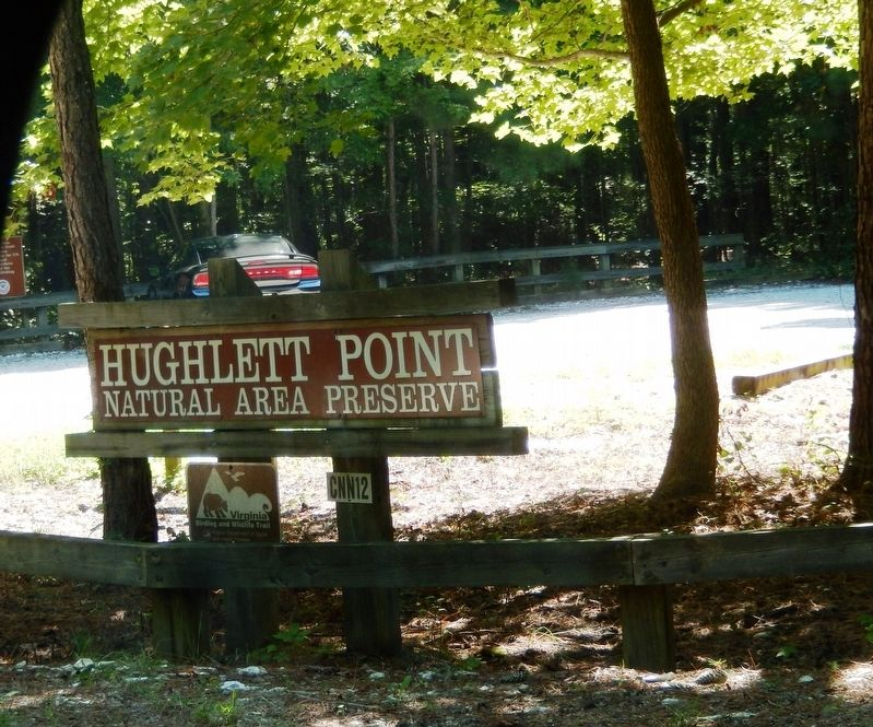 Hughlett Point Natural Area Preserve sign at entrance to the cutout image. Click for full size.