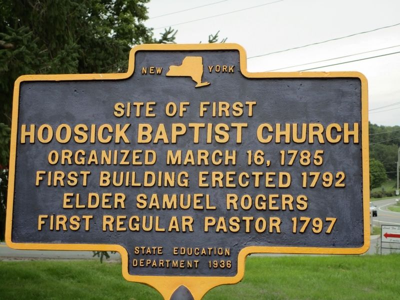 Site of First Hoosic Baptist Church Marker image. Click for full size.