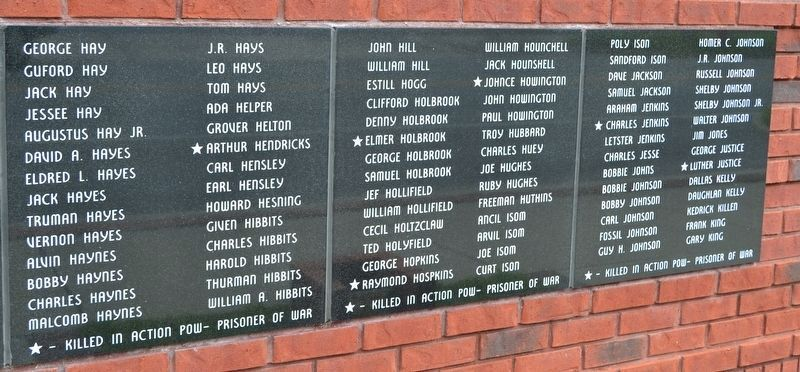 Names of World War II Veterans - Panels 9, 10, and 11 image. Click for full size.