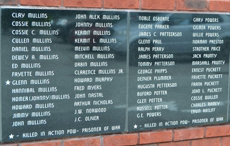 Names of World War II Veterans - Panels 14 and 15 image. Click for full size.