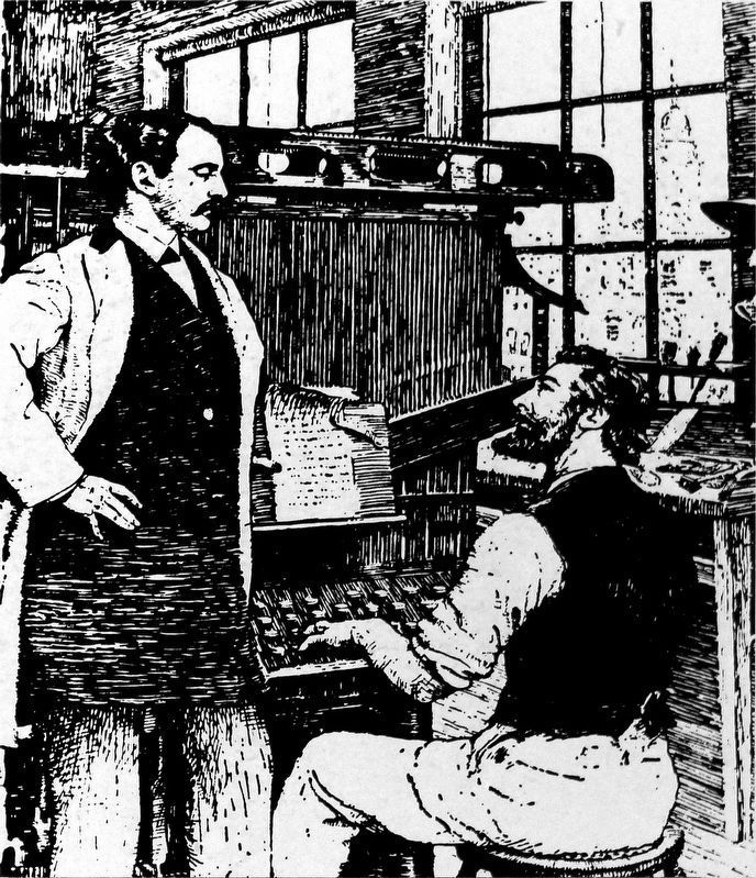 Mergenthaler demonstrates linotype to publisher of New York Tribune image. Click for full size.