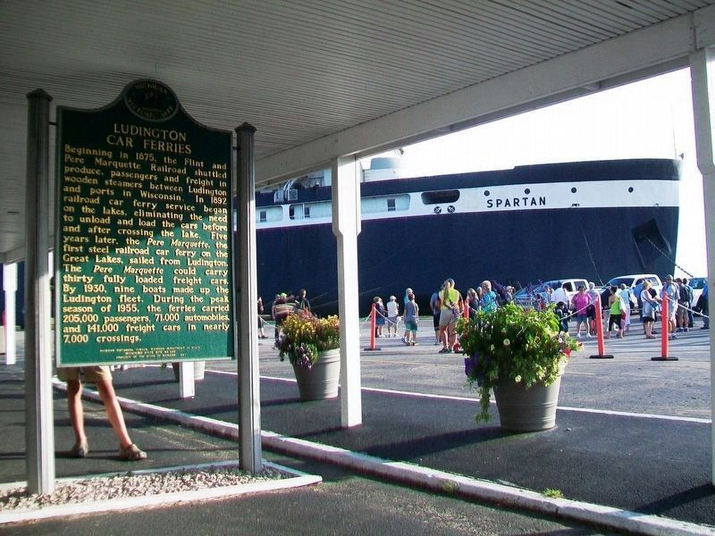 Ludington Car Ferries Marker and S.S. <i>Spartan</i> image. Click for full size.