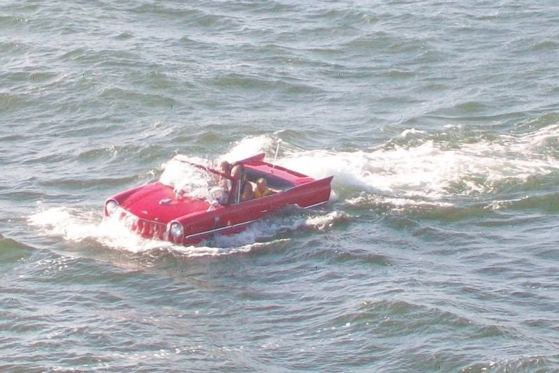 Amphicar in Ludington Harbor to Greet Arrival of S.S. <i>Badger</i> image. Click for full size.