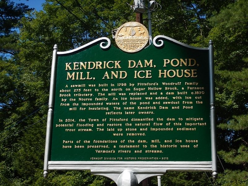 Kendrick Dam, Pond, Mill, and Ice House Marker image. Click for full size.