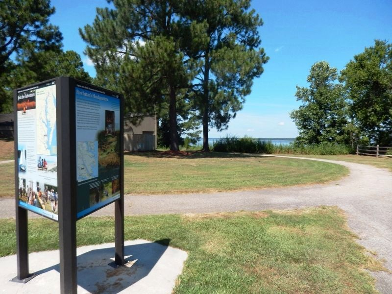 Powhatan's Headquarters Marker with the York River in the background image. Click for full size.