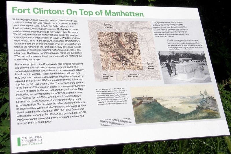 Fort Clinton: On Top of Manhattan Marker image. Click for full size.