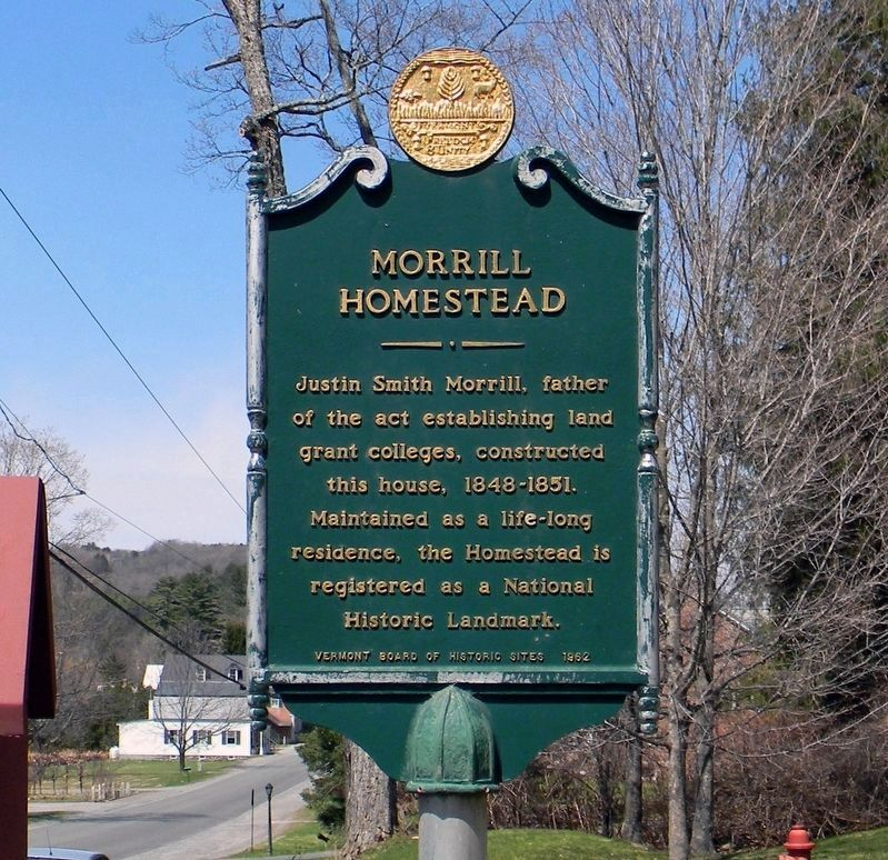 Original 1962 Morrill Homestead marker (replaced in 2013) image. Click for full size.