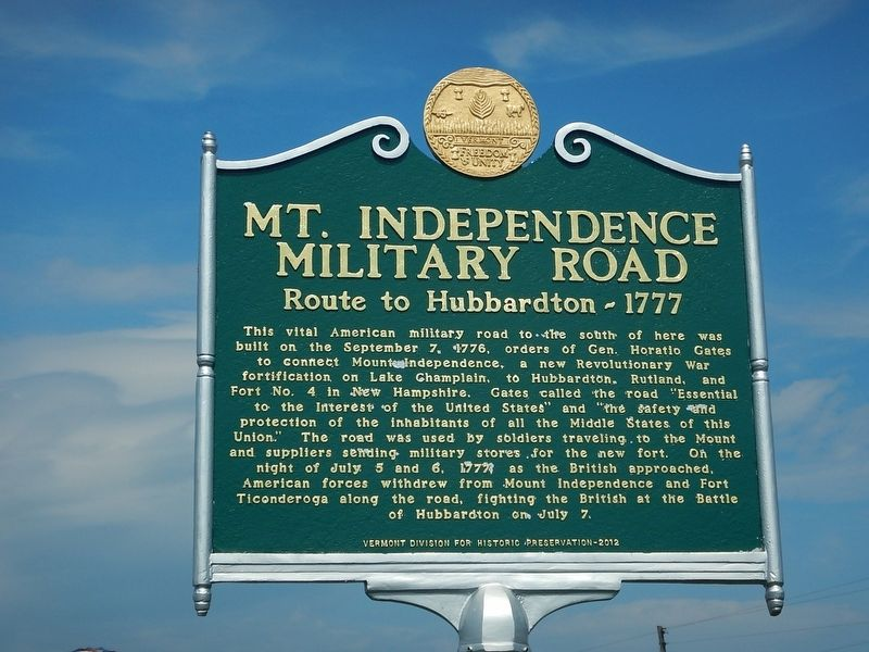 Mt. Independence Military Road Marker image. Click for full size.