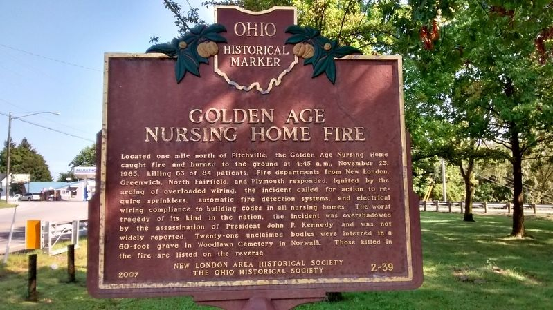 Golden Age Nursing Home Fire / Killed in the Fire Marker image. Click for full size.