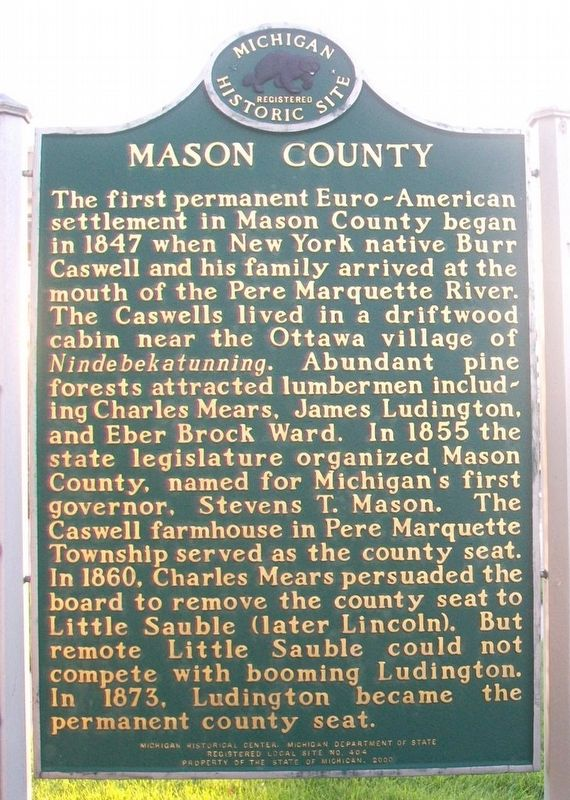Mason County Marker (Side A) image. Click for full size.