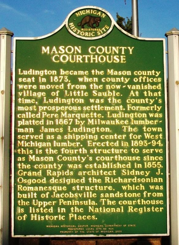 Mason County Courthouse Marker (Side B) image. Click for full size.