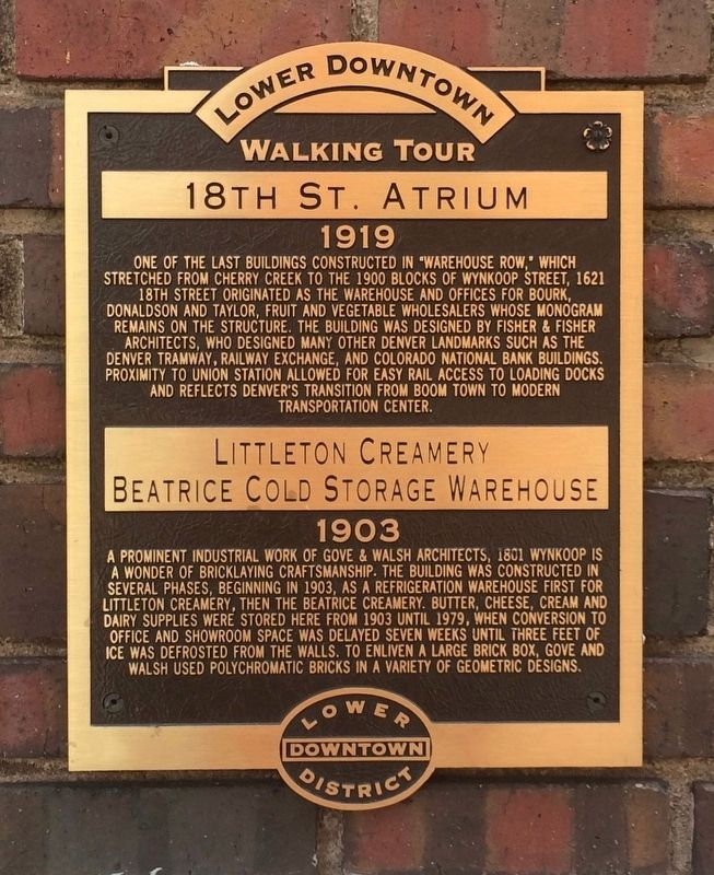18th St. Atrium / Littleton Creamery Beatrice Cold Storage Warehouse Marker image. Click for full size.