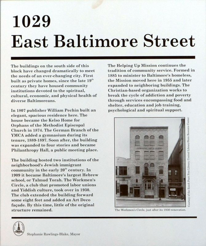 1029 East Baltimore Street Marker image. Click for full size.