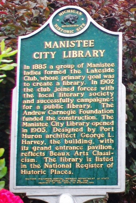 Manistee City Library Marker image. Click for full size.