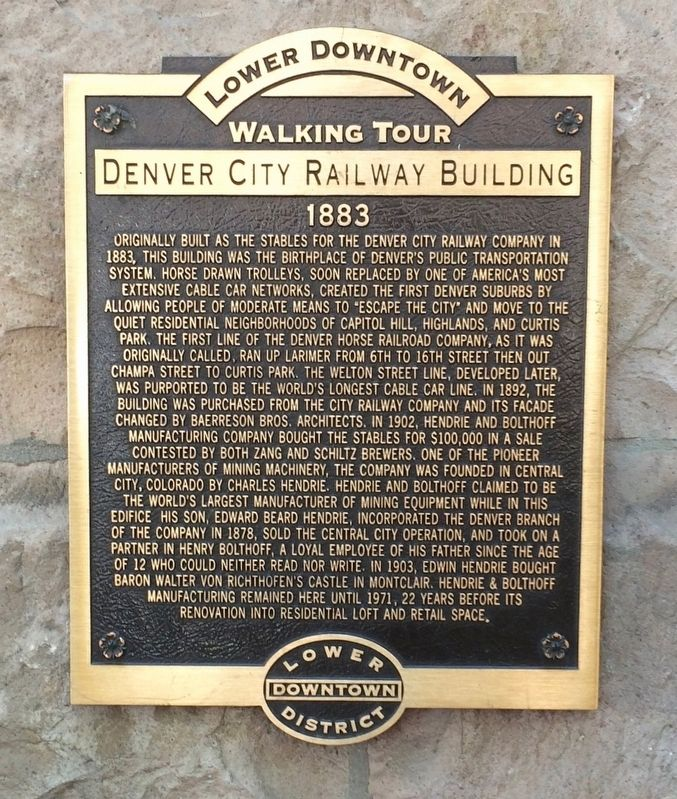 Denver City Railway Building Marker image. Click for full size.