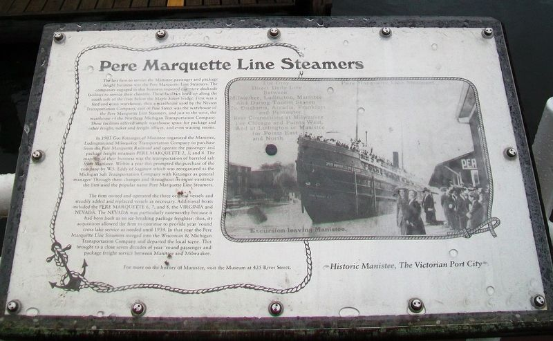 Pere Marquette Line Steamers Marker image. Click for full size.