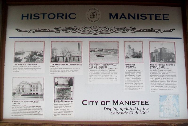 Historic Manistee Marker (Side A) image. Click for full size.