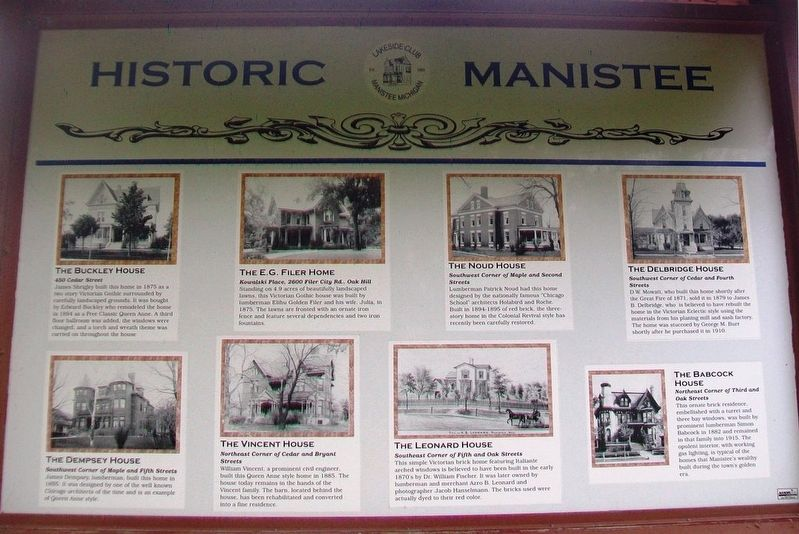 Historic Manistee Marker (Side B) image. Click for full size.