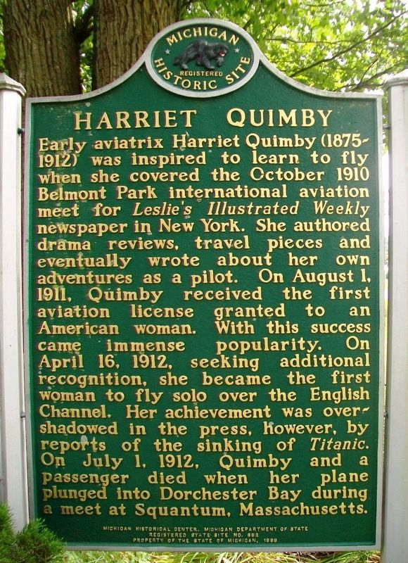 Harriet Quimby Marker (Side A) image. Click for full size.
