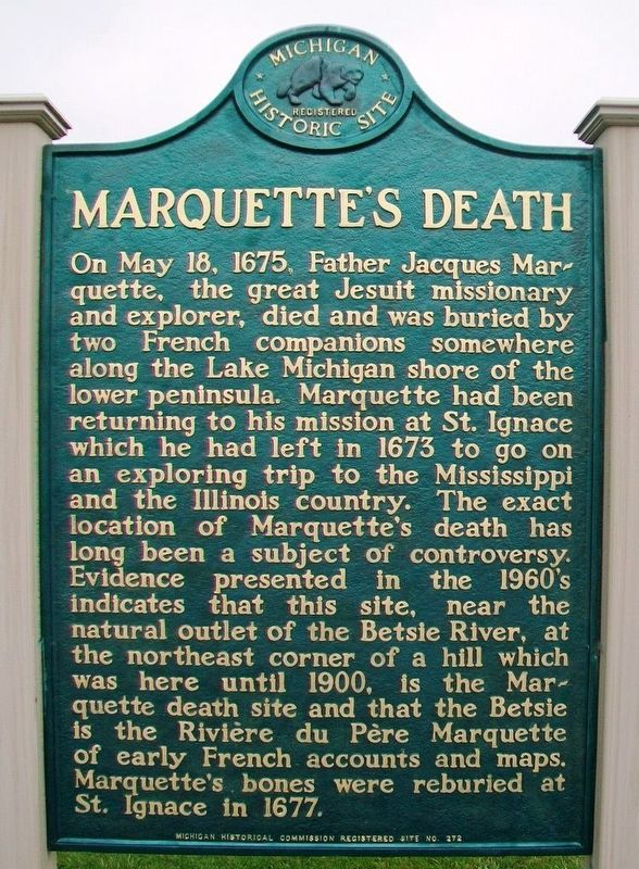Marquette's Death Marker image. Click for full size.