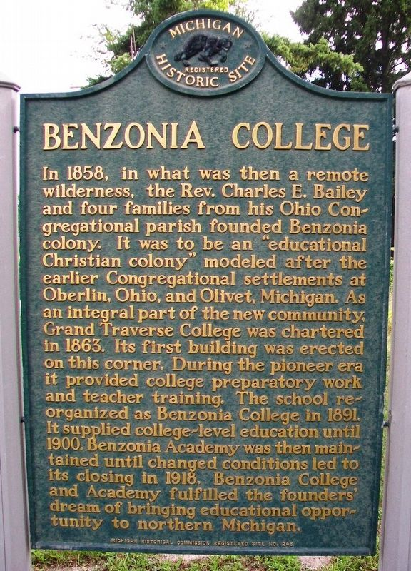 Benzonia College Marker image. Click for full size.